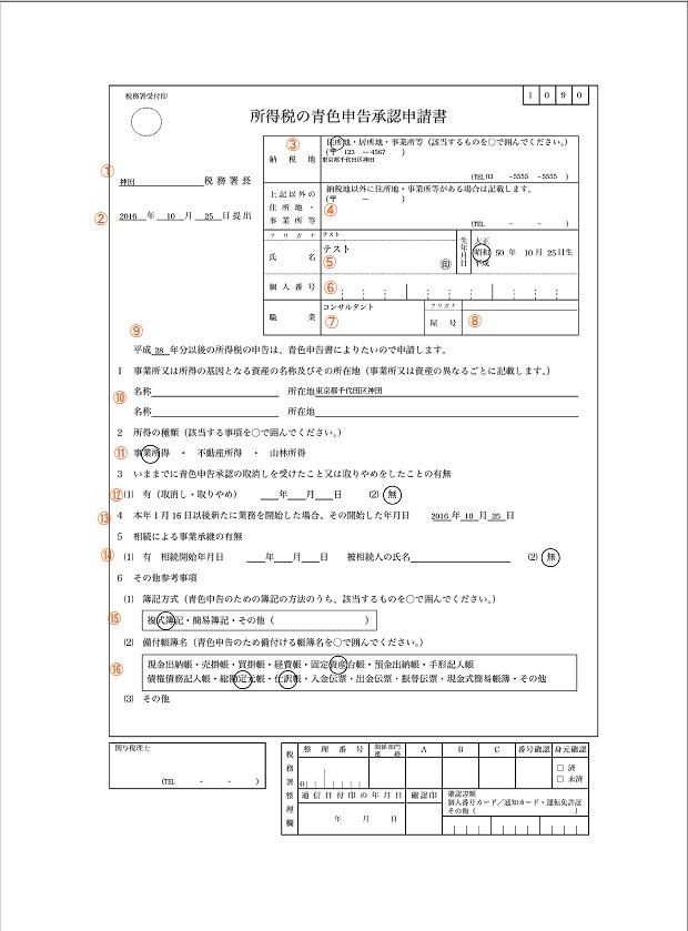 個人事業主の青色申告承認申請書の書き方と記載例